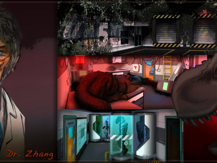 Pale Night Productions: Dino DNA Lab Haunted-Experience Concept Illustrations